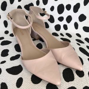 Aldo Blush Pink Pointed Toe Leather Heels